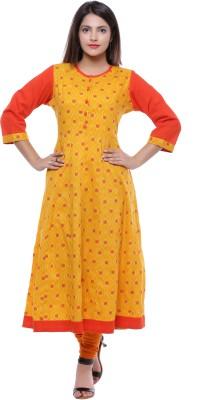 Ayan Printed Women's Anarkali Kurta(Yellow, Orange) at flipkart