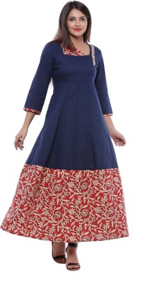 Ayan Printed Women's Anarkali Kurta(Brown, Blue) at flipkart