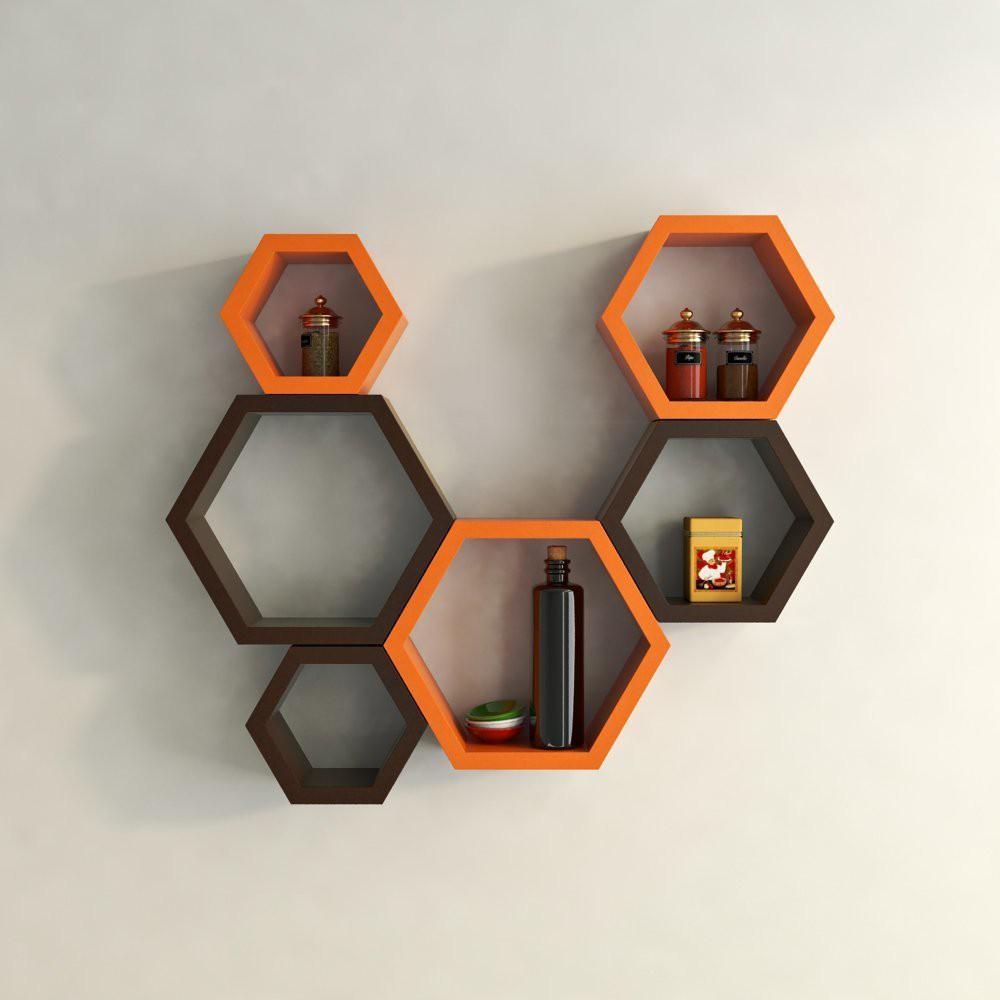 View Shrih Stylish Set of 6 Wooden Wall Shelf(Number of Shelves - 6, Brown, Orange) Furniture (Shrih)