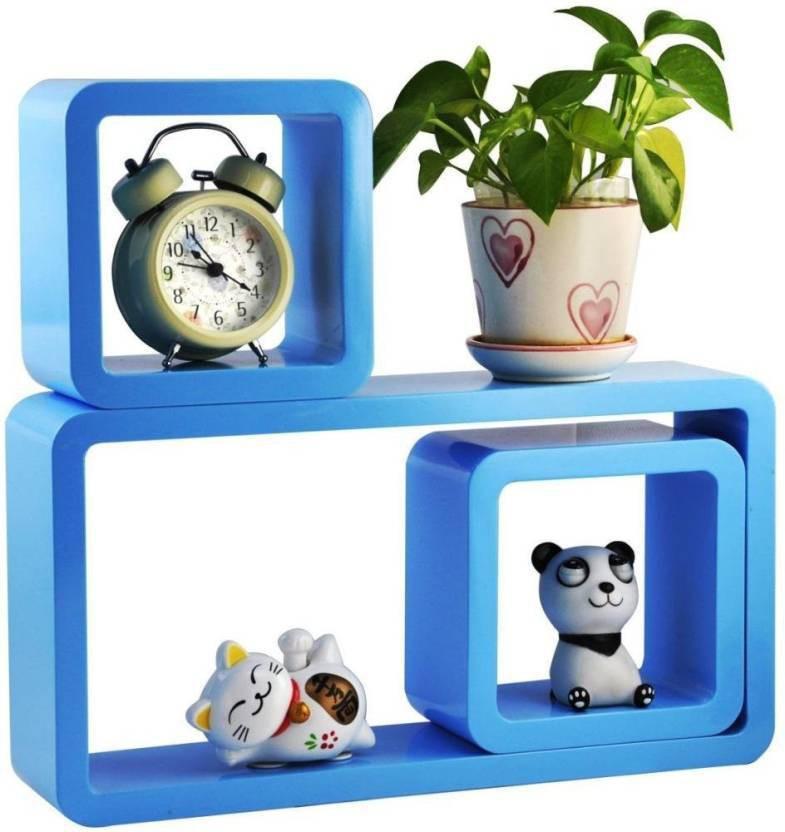 View huzain handicrafts Wooden Wall Shelf(Number of Shelves - 3, Blue) Furniture (huzain handicrafts)
