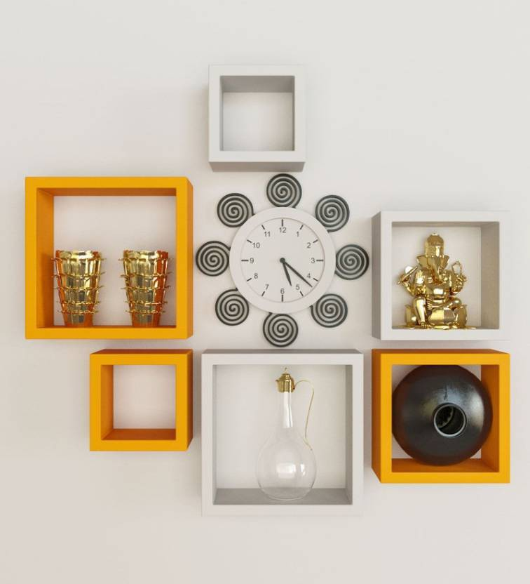 View huzain handicrafts Wooden Wall Shelf(Number of Shelves - 6, Yellow, White) Furniture (huzain handicrafts)