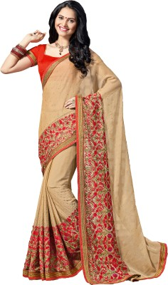 M.S.Retail Embroidered Bollywood Chiffon, Crepe, Silk Saree(Gold) at flipkart