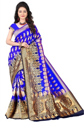 Jay Fashion Self Design Kanjivaram Cotton Saree(Blue, Gold) at flipkart