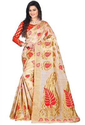Jay Fashion Self Design Kanjivaram Cotton Saree(Multicolor) at flipkart