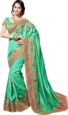 M.S.Retail Embroidered Bollywood Dupion Silk, Cotton Saree(Light Green) at flipkart
