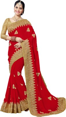 M.S.Retail Embroidered Bollywood Pure Georgette Saree(Red) at flipkart