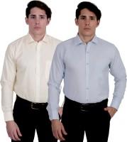 Kalrav Formal Shirts (Men's) - Kalrav Men's Self Design Formal Yellow, Grey Shirt(Pack of 2)