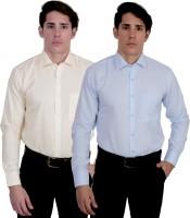Kalrav Formal Shirts (Men's) - Kalrav Men's Self Design Formal Yellow, Blue Shirt(Pack of 2)
