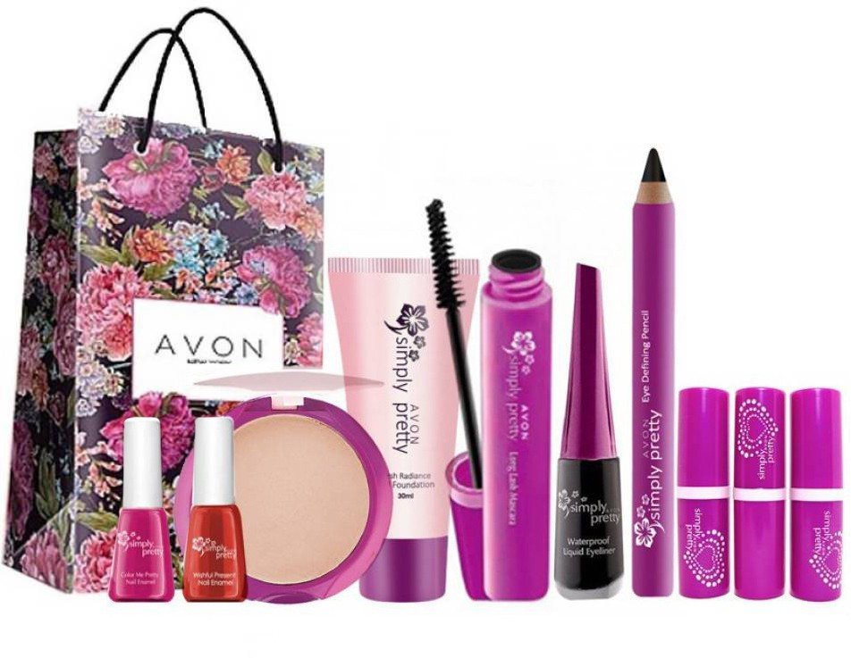 Avon Anew Simply Pretty Complete Beauty Set (10 pc) with gift bag(Set of 11)