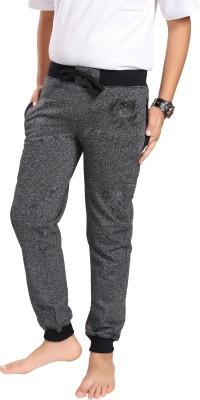 Grey Leaf Track Pant For Boys(Black Pack of 1)