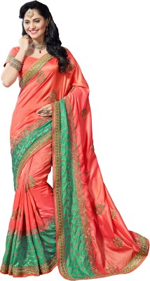 M.S.Retail Embroidered Bollywood Dupion Silk Saree(Multicolor) at flipkart