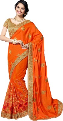 M.S.Retail Embroidered Bollywood Silk, Crepe, Net Saree(Orange) at flipkart