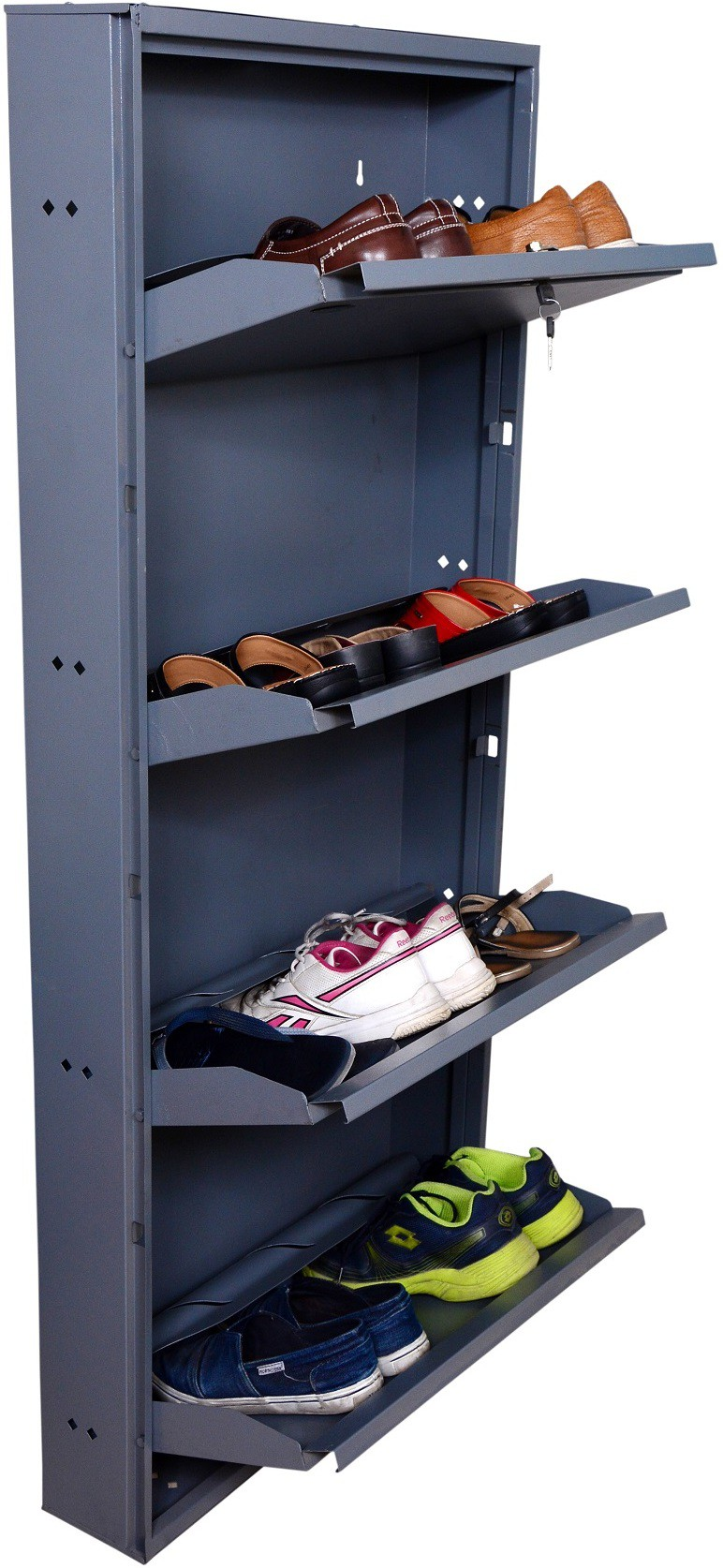 View Clever Steel Shoe Cabinet(Grey, 4 Shelves) Furniture (Clever)