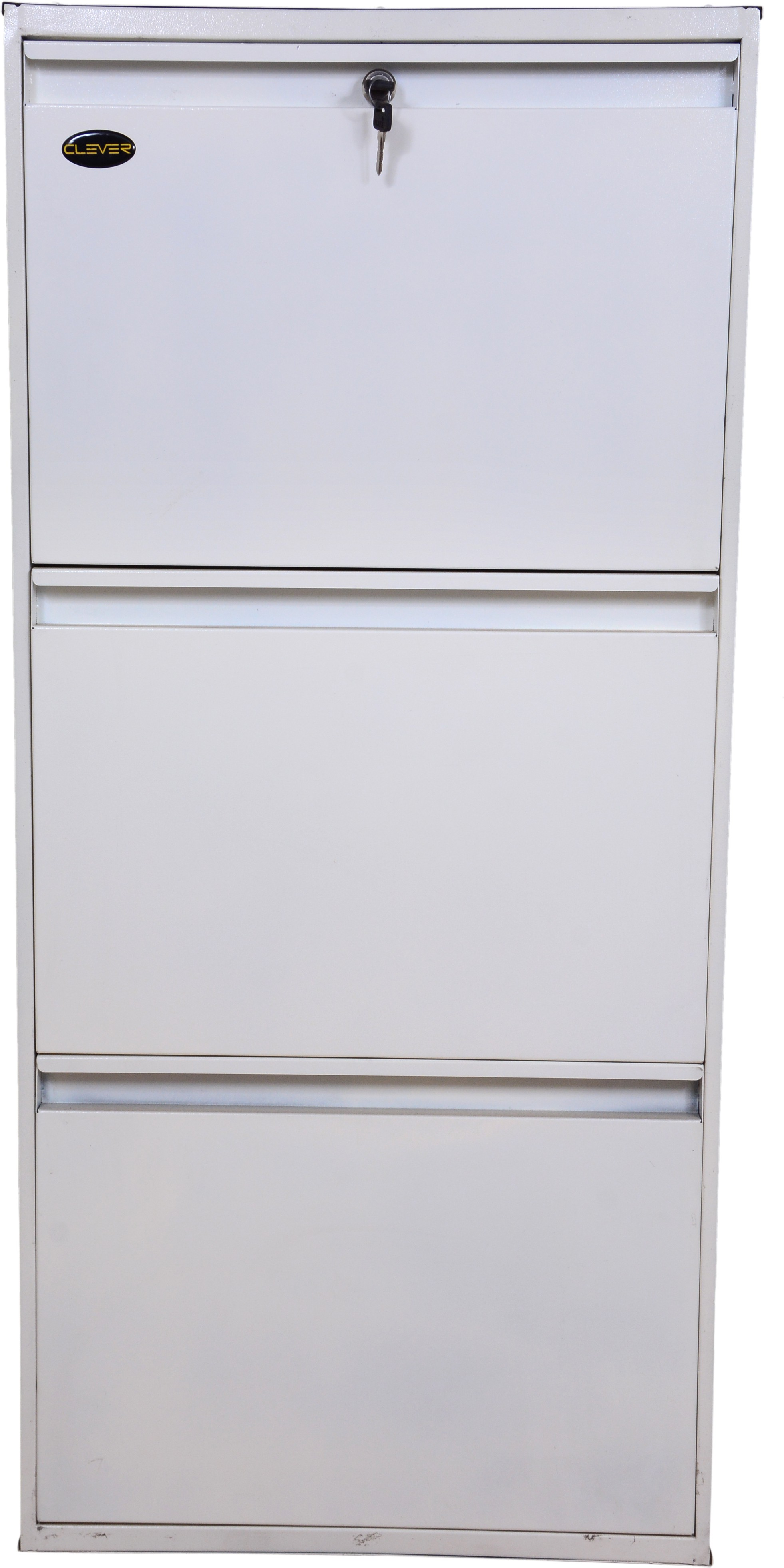 View Clever Steel Shoe Cabinet(White, 3 Shelves) Furniture (Clever)