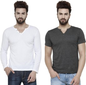 TSX Solid Men's Henley Grey, White T-Shirt(Pack of 2)