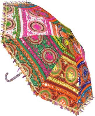 Lal Haveli Embroidery Design Cotton School Kids Sun Umbrella(Multicolor)