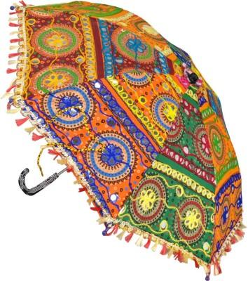 Lal Haveli Party Decoration Embroidery Work Cotton Women Sun Umbrella(Multicolor)