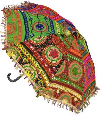 Lal Haveli Cotton Embroidered Work Kids Size Sun Umbrella(Multicolor)