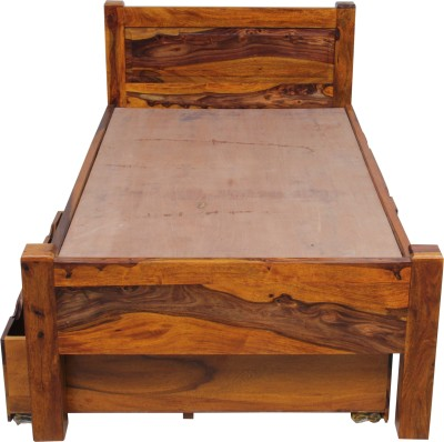 Induscraft Solid Wood Single Bed With Storage(Finish Color - LIGHT NATURAL)