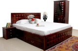 Induscraft Solid Wood Queen Bed With Sto...