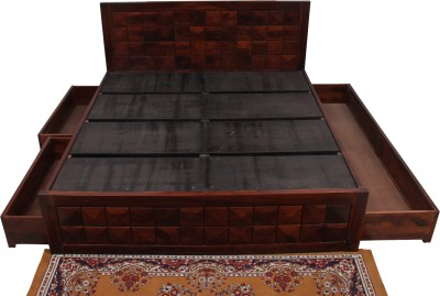 Induscraft Solid Wood Queen Bed With Storage(Finish Color - CHERRY)
