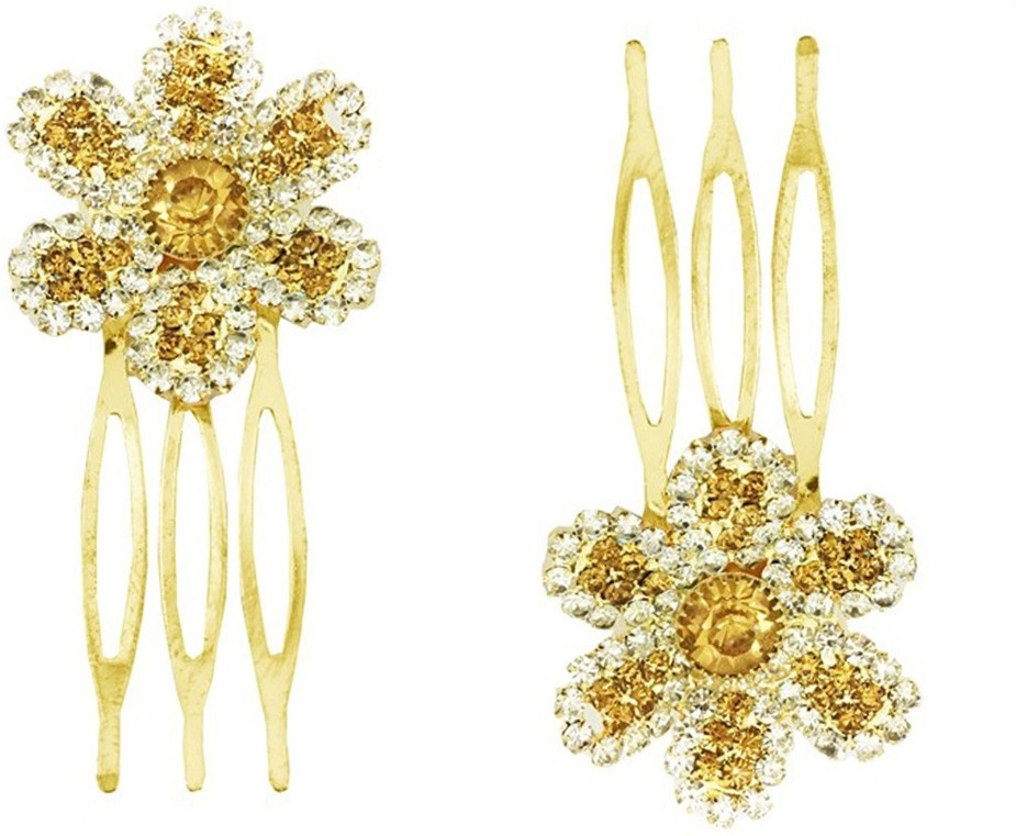 AccessHer Trendy Indo Western, Wedding and Party Wear, Fancy Golden Hair Accessories: Hair Clip/ Side Pin/ Comb Pin/ Jooda Pin For Girls And Women Hair Pin(Gold)