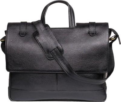 Leather World 15 inch Laptop Messenger Bag(Black) at flipkart