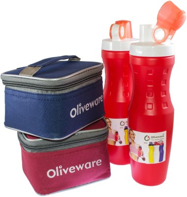 Oliveware 2 Sipper with 2 Lunch box with 4 Containers Lunch Box(900 ml)