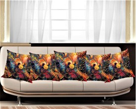 Belive-Me Abstract Cushions Cover(Pack of 5, 40.64 cm*40.64 cm, Multicolor)