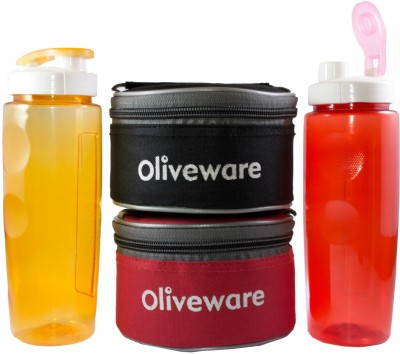 Oliveware 2 Galaxy Lunch Set with Sipper and 4 Containers Lunch Box(750 ml)