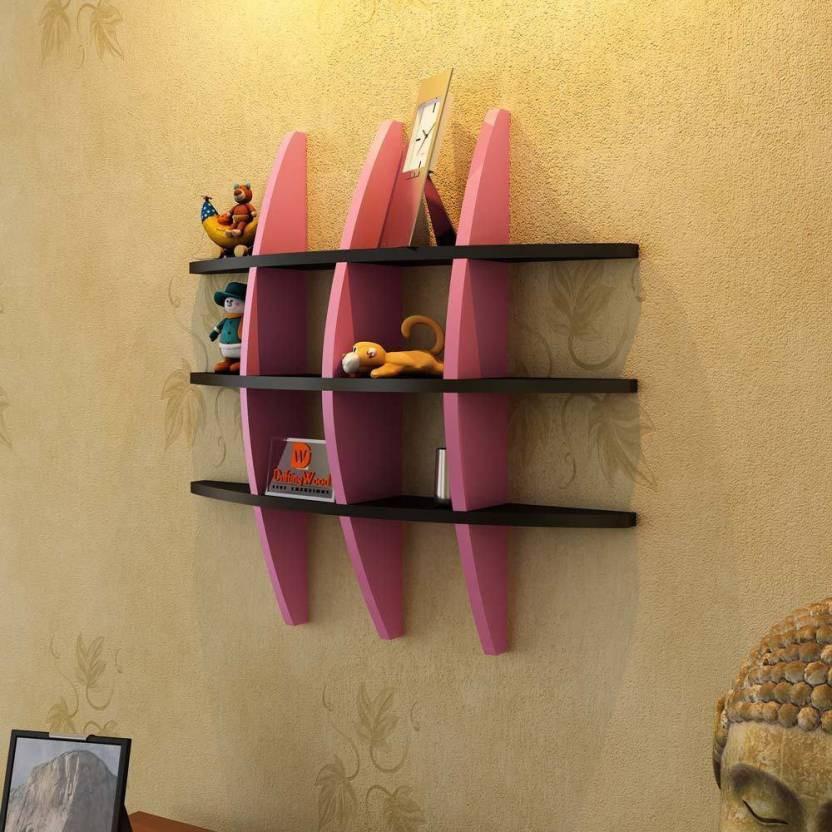 View huzain handicrafts Wooden Wall Shelf(Number of Shelves - 3, Black, Pink) Furniture (huzain handicrafts)