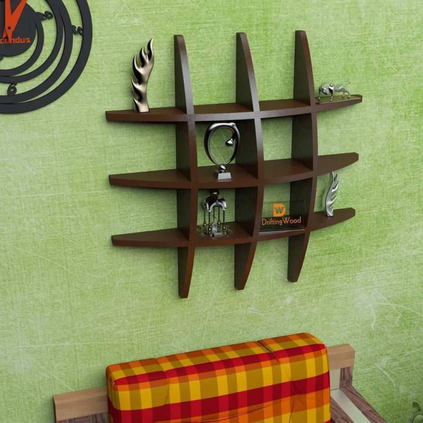 View huzain handicrafts Wooden Wall Shelf(Number of Shelves - 1, Black) Furniture (huzain handicrafts)