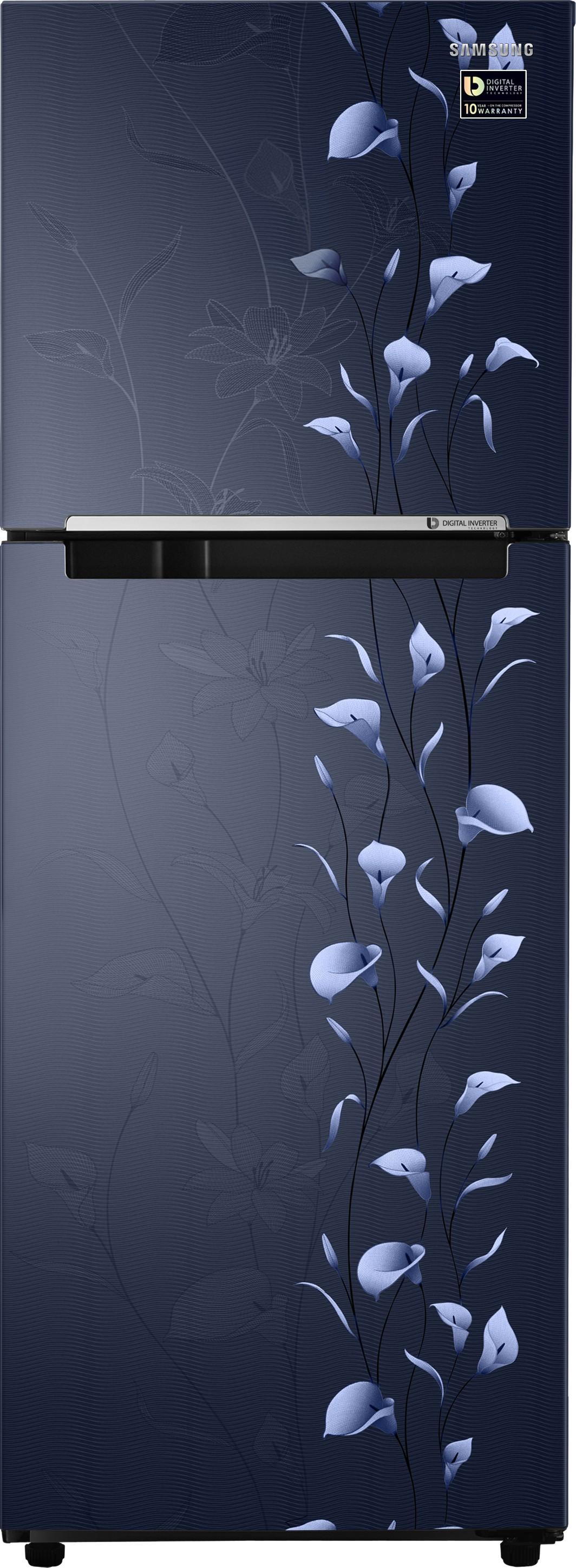 View SAMSUNG 253 L Frost Free Double Door Refrigerator(RT28M3022UZ/NL,RT28M3022UZ/HL, Tender Lily Blue, 2017)  Price Online