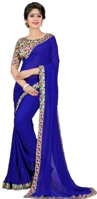 Livie Solid Fashion Georgette Saree(Blue)