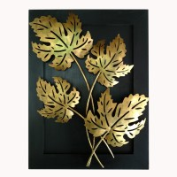 Uniqkrafts Maple Leaf Wall Hanging With Tea Light Holder Showpiece  -  51 cm(Iron, Wooden, Gold, Black)