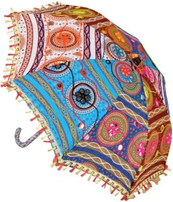 Lal Haveli Home Decoration Cotton Kids Small Umbrella(Multicolor)
