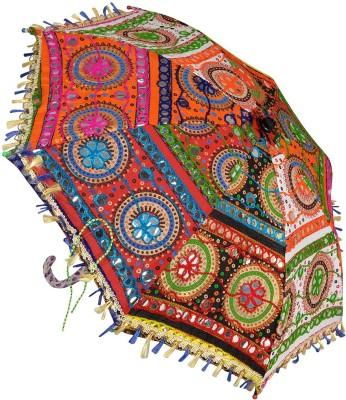 Lal Haveli Embroidery Design Mini Sun Umbrella(Multicolor)
