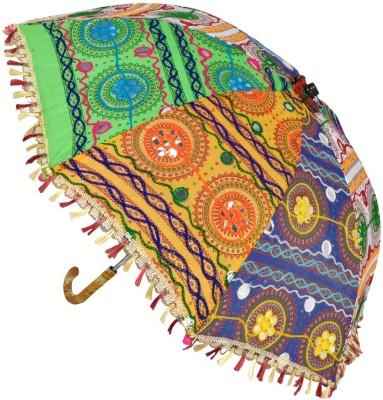 Lal Haveli Embroidery Work Cotton Women Sun Umbrella(Multicolor)
