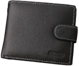 MS Men Black Genuine Leather Wallet (5 C...
