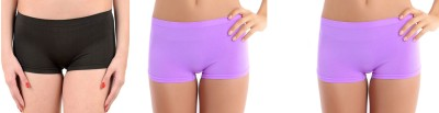 Bahucharaji Creation Women's Boy Short Black, Purple Panty(Pack of 3) at flipkart