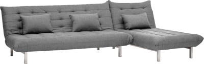 Furny L Shape Double Fabric Sofa Bed(Finish Color - Grey Mechanism Type - Fold Out)