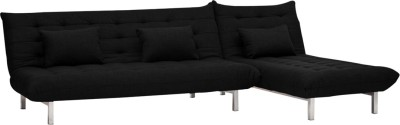 Furny L Shape Double Fabric Sofa Bed(Finish Color - Black Mechanism Type - Fold Out)
