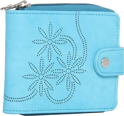 BUTTERFLIES Women Blue Artificial Leather Wallet(10 Card Slots)