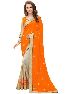 PANCHRATNA Solid, Self Design, Embroidered Fashion Georgette Saree(Orange) at flipkart
