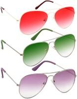 e4e44fe5e985 Poloport Non Polarized Combo Pack Aviator, Cat-eye, Retro Square, Oval,  Wayfarer Sunglasses(Red, Green, Violet, Blue)