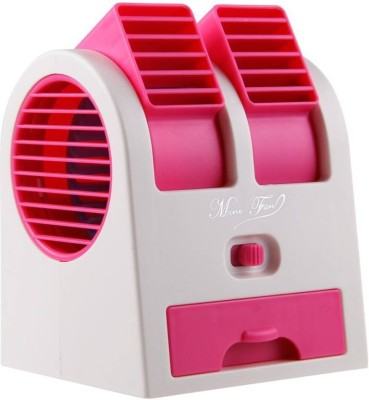 Active Dual Bladeless Mini Air Conditioner Cooling Fragrance 4 Blade Table Fan(Pink)