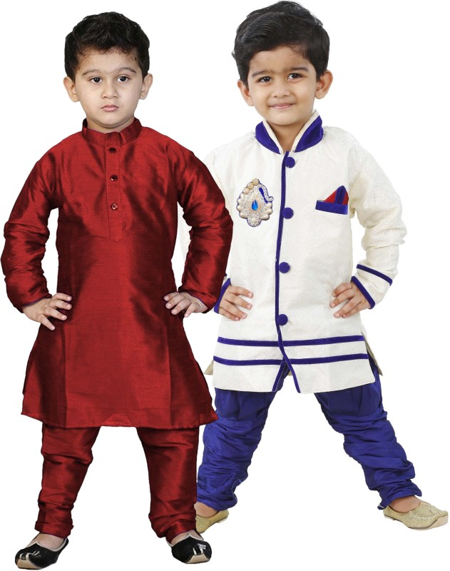 NIKUNJ Boys Festive & Party Kurta and Pyjama Set(Multicolor Pack...
