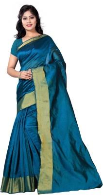 vimalnath synthetics Solid Fashion Raw Silk Saree(Dark Green) at flipkart