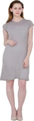 Pop Cherry Womens Gathered Grey Dress