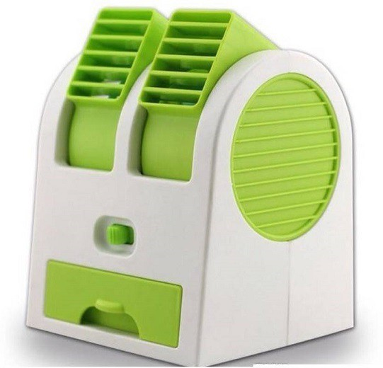 Active Dual Bladeless Mini Air Conditioner Cooling Fragrance Fan 4 Blade Table Fan(Green)